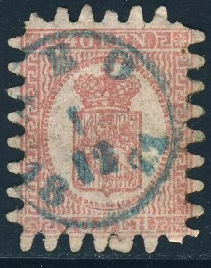 FINLAND 1866 40p Rose on Pale Rose Wove Paper Roulette 8 Type iii SG 43 VFU