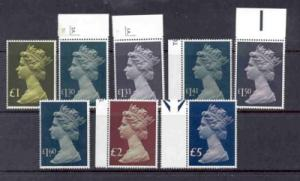 Great Britain ScMh169-76 High Value QE II Machin Head stamps