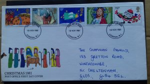 Great Britain 1981 Christmas Stamps FDC