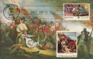 United States sc# 1560 FDC & 1564 FDC on Postcard Salem Poor Bunker Hill pm 1976