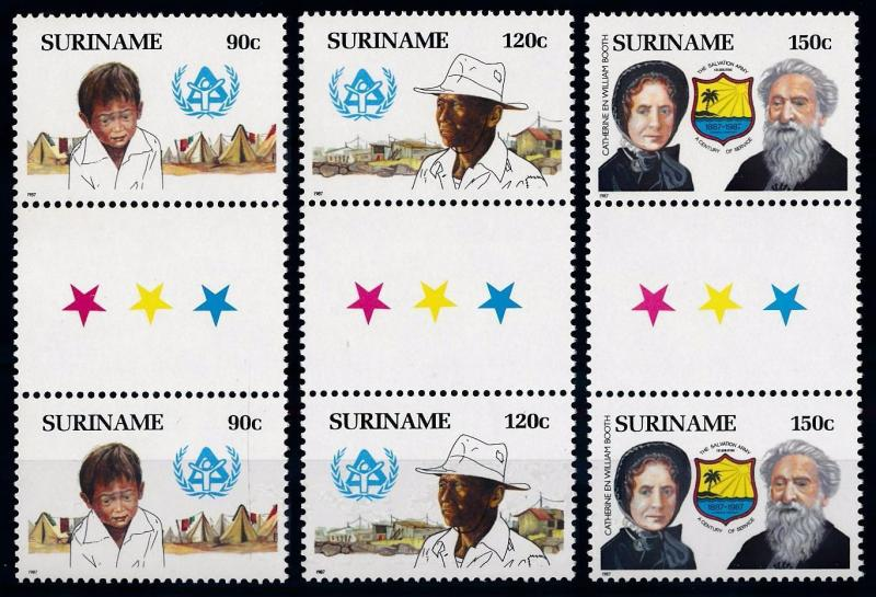 [SU546GPA] Suriname 1987 Salvations Army Gutter pairs with Stars MNH