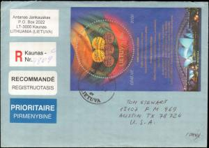 2002 LITHUANIA REGISTERED SOUVENIR SHEET TO UNITED STATES