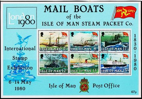 Isle of Man. 1980 Mail Boats Miniature Sheet. S.G.MS176  Fine Used