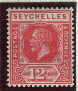 SEYCHELLES; 1922 early GV issue fine Mint hinged Shade of 12c. value