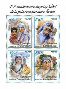 HERRICKSTAMP NEW ISSUES CENTRAL AFRICA Mother Teresa Nobel Prize Sheet