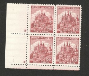 Germany Occ Bohemia & Moravia-Czechoslovakia -MNH BLOCK OF 4-1.50 K * -1940
