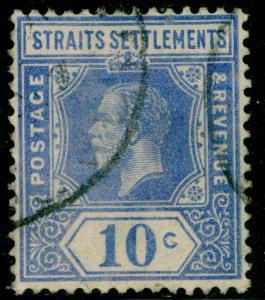 MALAYSIA - Straits Settlements SG230, 10c bright blue, FINE USED, CDS.
