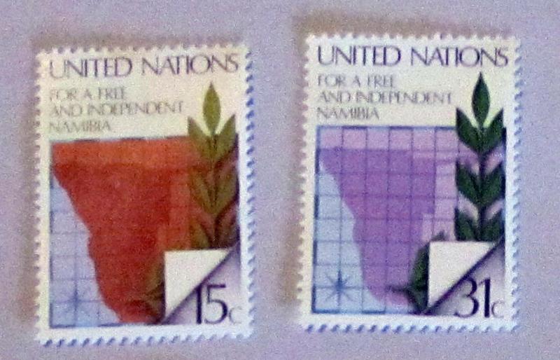 UN, NY - 312-13, MNH Set. Map of Nambia. SCV-$0.55