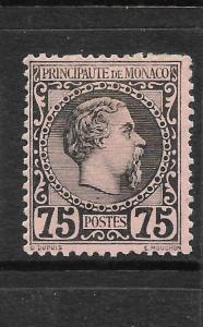 MONACO  1885  75c BLACK/ROSE    MH  Sc 8