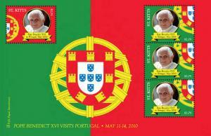 St Kitts - Pope Benedict XVI 4 Stamp Sheet  STK1025