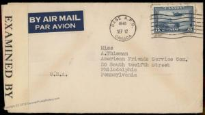 Canada Germany WWII Airmail Refugee Internee Camp N Sherbrooke Lager Cover 80945