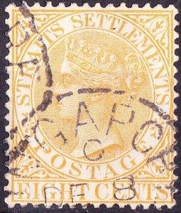 MALAYA STRAITS SETTLEMENTS 1867 QV 8c Orange SG14 Used