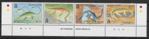 MONTSERRAT SG941a 1994 AQUATIC DINOSAURS SE-TENNANT STRIP MNH