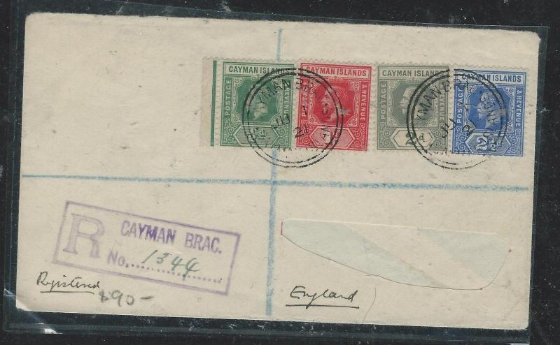 CAYMAN ISANDS (P1706B) 1921 KGV   4 STAMP FRANK  REG COVER ADDRESS CUT OUT