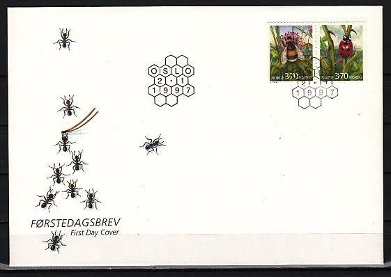* Norway, Scott cat. 1146-1147. Honeybee & Ladybug on a First day cover.