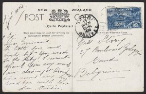 NEW ZEALAND 1908 Unusual use 2½d Wakatipu on postcard to Belgium............2713