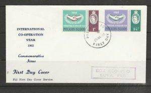 Pitcairn Islands FDC 1965 ICY, Illus, Imprint address ( Fiji )