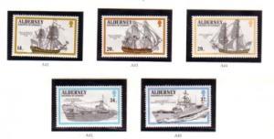 Alderney Sc 55-59 1990 Ships stamp set  mint NH