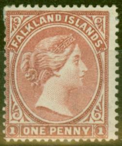Falkland Is 1887 1d Brownish Claret SG8 Fine Mtd Mint