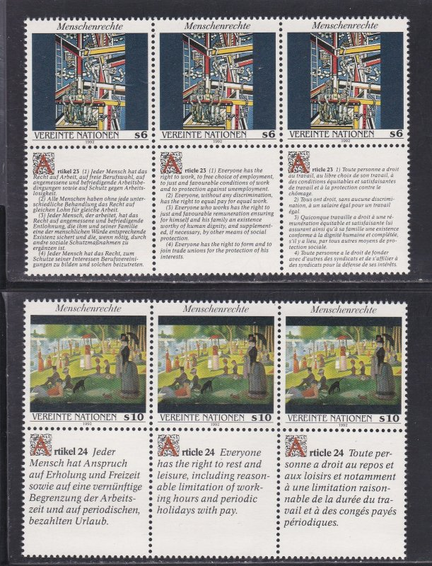 United Nations - Vienna # 139-140, Human Rights Strips of 3 NH, 1/2 Cat.
