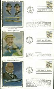 US FDC #C91-#C92 Set of 6 Colorano Cachets Dayton, OH Wright Brothers