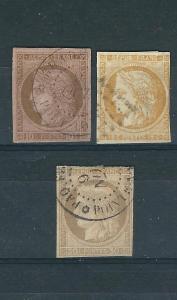 French Colonies 20-22 Y&T 18-20 Used F/VF 1876-7 SCV $134.00