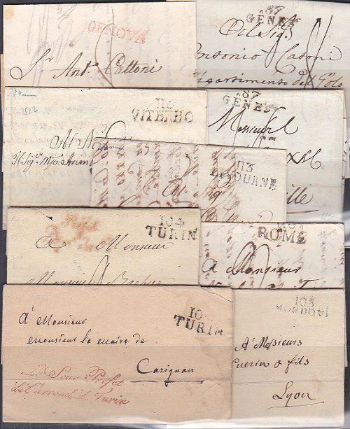FRANCE OCCUPATION OF ITALY 1805-13 9 entires from Rome,Turin,Genes etc.....87774