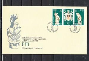 Fiji, Scott cat. 384 A-C. Queen Elizabeth`s Coronation issue. First day cover.