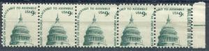 US #1591 Strip of 5 with Perf Shift Causing Mail Early to Be on Stamp Misperf