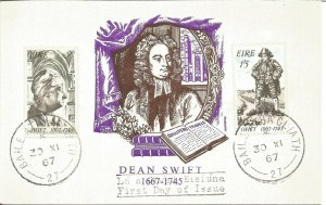 Maximum Card EIRE 1967 Dean Swift 1667-1745 Stamps First Day Of Issue U3803