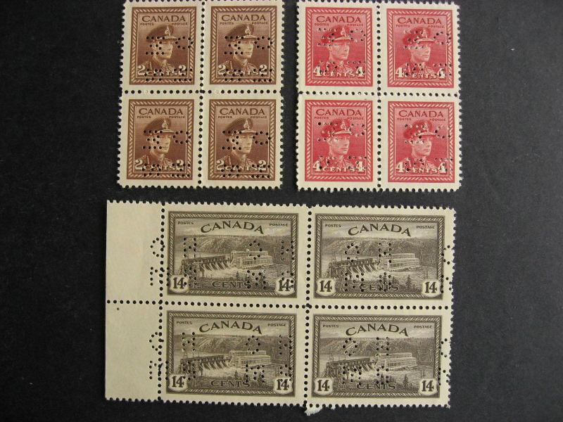 Canada 3 different MNH OHMS perfin blocks of 4, see pictures!