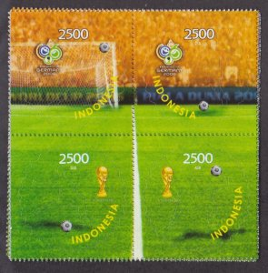 Indonesia # 2087, World Cup Soccer, Block of four, NH, 1/2 Cat.