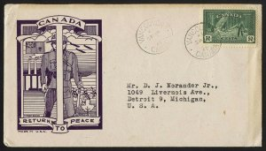 wc076 Canada 1946 Returns to peace 50-cent FDC first day cover cacheted