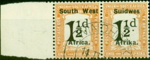 South West Africa 1927 1 1/2d Black & Yellow-Brown SGD34 V.F.U