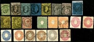 GERMAN States SAXONY Stamps Postage Collection 1851-1863 Used Mint LH