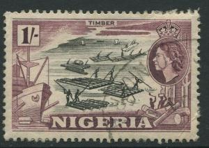 Nigeria -Scott 87 - QEII Definitive Issue -1953 - Used - Single 1/- Stamp