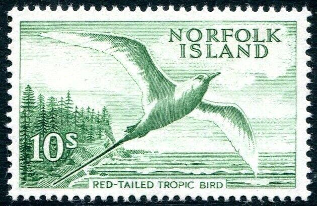 NORFOLK ISLAND-1961 10/- Emerald-Green Sg 36 UNMOUNTED MINT V28974