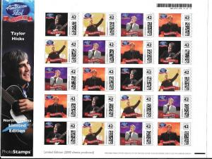 STAMPS.COM TAYLOR HICKS/AMERICAN IDOL/FULL SHEET 42C STAMPS