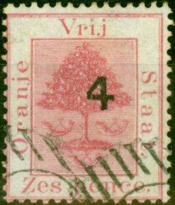 Orange Free State 1877 4d on 6d Rose SG12 Type C Fine Used
