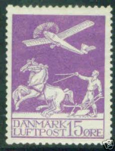DENMARK  Scott C2 MH* 1926 Airmail stamps CV$47.50 creased