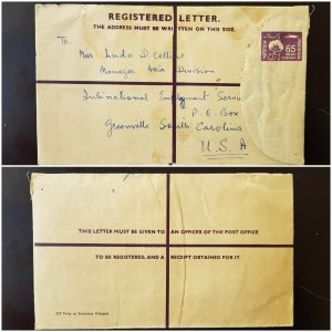 Pakistan Registered Stationery Letter Envelope to USA 1962 USED 65 PAISA