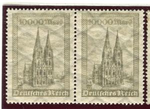 GERMANY; 1923 early Catherdral issue fine Mint hinged 10000m. pair