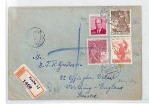 Czechoslovakia ARMY DAY Set Cover 1953 Prague Registered Air Mail {samwells}BU80