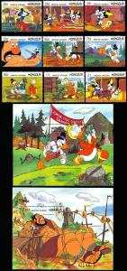 MONGOLIA DISNEY STORY ILLUSTRATIONS SET OF 9 & 2 S/S