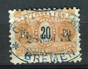 GERMANY; Bremen 1870s early classic Fiscal / Revenue issue fine used 20pf. value