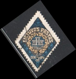 Lithuania Sc 179 1923 5 c Memel Coat of Arms stamp used
