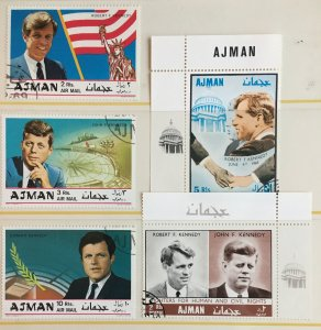 UAE Ajman Kennedy Brothers John, Robert & Edward 5 Different Used Stamps