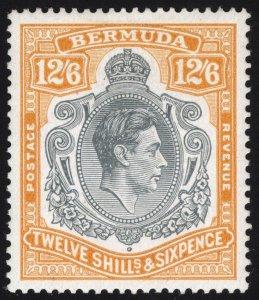 Bermuda 1944 12/6d Grey & Orange GASH IN CHIN SG 120cf LMM/MLH Cat £2500($3250)