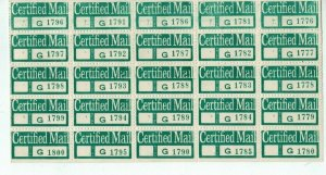 1980's  Certified Mail Stickers Full Sheet of 25