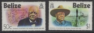 BELIZE SG396/7 1974 BIRTH CENTENARY OF SIR WINSTON CHURCHILL MNH
